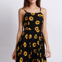 Sunflower Print Spaghetti Strap Pleated Mini Dress
