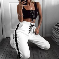 White LaceUp Jogging Pants with Black Bands