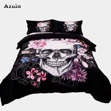 3pcs/lot Sugar Skull Print Queen Comforter Sets King Size Bedding Set Twin Size Luxury 3d Bed Quilt Cover Duvet Cover Sheets Set