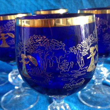 "Czech bohemia cut  glass  - Blue Liquer glasses  14cm decorated ""Lady"" and gold (the price is for 6 glasses)"