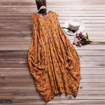 2018 Women Summer Boho Cotton Linen Party Beach Floral Printed Dress Casual Sleeveless Loose Vintage Kaftan Vestido Plus Size
