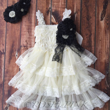 Rustic girl dress, pin, ivory country Champagne, cream lace chiffon dress, flower girl, bridal wedding, shabby chic, vintage, ruffle, child