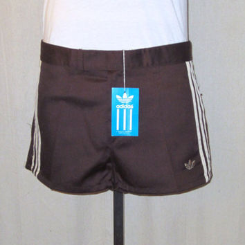 Vintage New With Tags 80s ADIDAS TENNIS CASUAL Brown Striped Size 33-34 Medium Rare Stylish Classic Polyester Cotton Shorts
