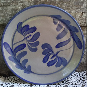 Pottery Plate, Salt Glazed Pottery, Blue Leaf Design Plate, BEAUMONT BROTHERS OHIO, Creeksville Ohio, Stoneware, Decorative, Wall Art