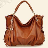 High Street Tassel Decoration Zip Closed Brown Hobo Bags