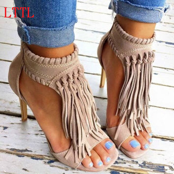 Suede Leather Fringe Sandal Ankle Boots Thin High Heels