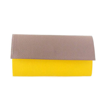 Gray and Yellow womens wallet / Two-tone vegan wallet / Women's vegan leather wallet / Cruelty Free wallet / Vegan Anniversary Gift