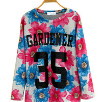 Pink And Blue Floral Long-Sleeve Top