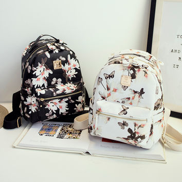 Floral Print Leather Backpack Travel Bag