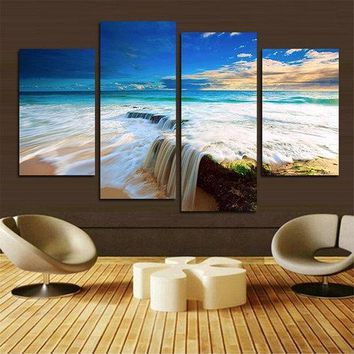 4PCS Ocean Unframed Landscape Huge Modern Abstract Canvas Wall Art Oil Print Painting