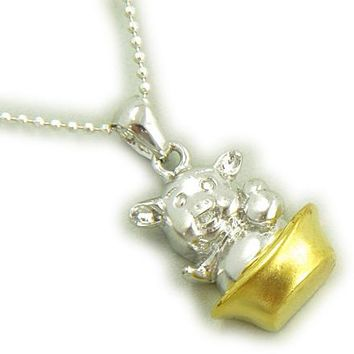 Fortune Ingot And Lucky Pig Sterling Silver Pendant Necklace