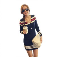 Navy Style Stripes Ladies Women Knitted Warm Long Sleeve V Neck Tops Mini Dress