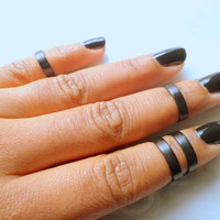 Black Smooth Band, Above Knuckle Ring, Adjustable Finger Ring, Stackable rings, Edgysheeq statement rings for everyday Flair