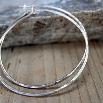 Hoops - 2 Inch Hammered German Silver Hoops - Unique, Hand Hammered, Cute, Everyday Wearable, Fashion