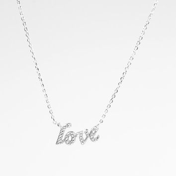 CZ Love Necklace, Sterling Silver Love Necklace, Cubic Zirconia Love Necklace, Tiny love Necklace, Love necklace,Bridesmaids Gift,Valentines