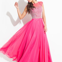 High Neck With Cap Sleeves Formal Prom Dress By Rachel Allan 6924