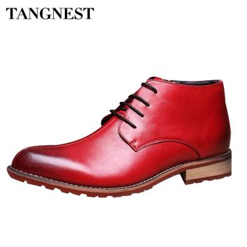Tangnest New 2017 Autumn British Style Men Boots Man Fashion Genuine Leather Pointed Toe Lace Up Dress Shoe For Men XMX547