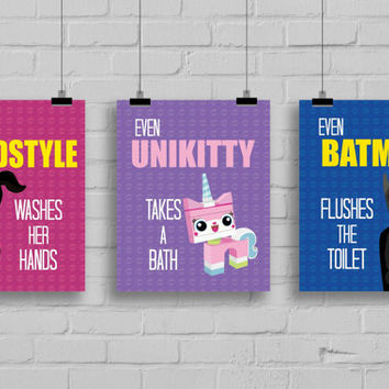 "Lego Bathroom Prints - ""Even Wyldstyle Washes her Hands"" Lego Prints, Superhero Prints, Bathroom Rules, Lego Movie Inspired, Set of 3"