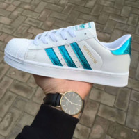 """""""Adidas"""" Fashion Reflective Shell-toe Flats Sneakers Sport Shoes Laser blue"""