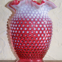 Vintage 1950s Fenton Cranberry Opalescent Hobnail Pattern Vase With Ruffled Edge