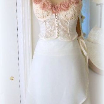 3 Piece Lingerie Set, DESTINATION WEDDING, Victoria Secrets Bustier, 2 piece Fairy Skirt, Roses, Cream