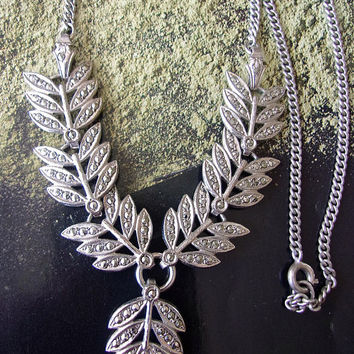 Marcasite Sterling Silver Drop Necklace, Leaf Motif, Vintage