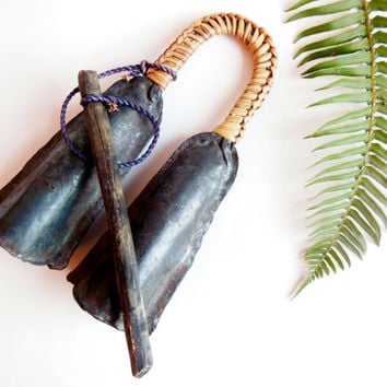 Primitive Vintage Bell // Home and Garden Decor // Tribal Musical Instrument // Handmade Metal Bells with Wicker Wrapped Handle