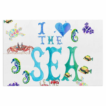 "Catherine Holcombe ""I Love The Sea"" Ocean Typography Decorative Door Mat"