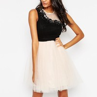 Little Mistress | Little Mistress Prom Dress with Embellished Mesh Detail at ASOS
