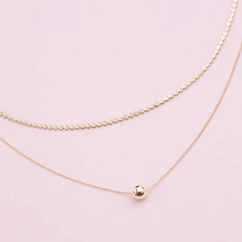 Layered Gold Sphere Necklace