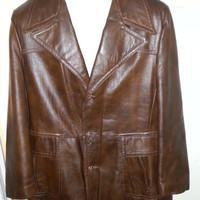 Vintage 1970s Hipster Reed Sportswear Brown Leather Jacket by Reed
