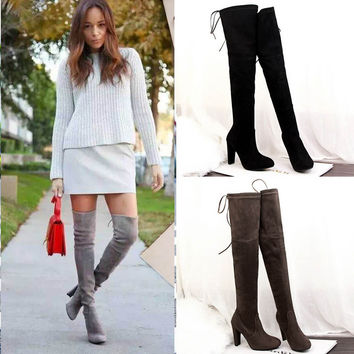 2016 Hot Women Boots autumn Winter Over The Knee Boots lace up fashion boots heels quality suede long Boots promotion ALF099