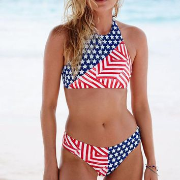 Fashion American Flag Print Halter Bikini Set Swimsuit Swimwear