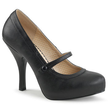 "Pin Up 01 Mary Jane Pump 4.5"" Heel Black Leatherette"