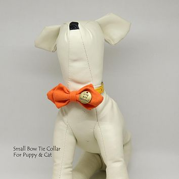 Carrot bow, love and beloved, Small bow tie collar, Puppy Collar, Cat collar, Cat bow tie collar