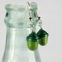 Tiny Acorn Earrings, Paper Quilling Earrings, green acorns, small acorn, little acorn, paper anniversary gift for her, eco friendly earring