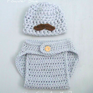 Baby Boy Mustache Hat and Diaper Cover Set in Powder Blue Crochet - Photo Prop -Choose Size and Colors