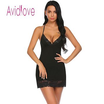 Avidlove Night Dress Women Sleepwear Nighty Nightgown Sexy Lingerie Babydoll Chemise Lace-trimmed Nightwear with G-String