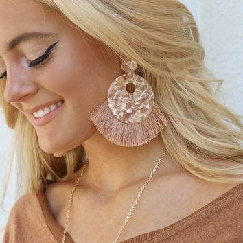 Dream Saver Tan Oversized Tortoise Shell Tassel Earrings