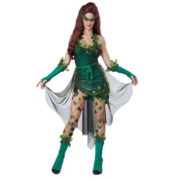 Ladies Green Poison Ivy Cosplay Halloween Costume