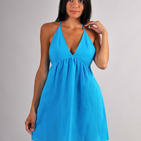Blue Mini Dress ,Cotton  Dress Open Back,Vneck Dress Beach Fashion,Dress Day.