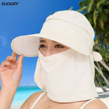 Women Foldable Snapback Sun Hat Lady Summer Beach Hat With Face Neck Cover UV Protection Fishing Cap Panama Visors Female
