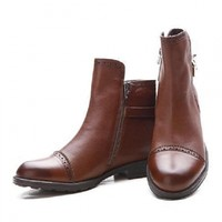 Brown buckle Back Boots - Choies.com