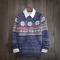 Men's Comfortable Soft Snowflake Geometric Knitted Sweater