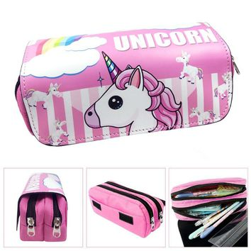 unicorn pencil case Cartoon estuche escolar Kawaii trousse scolaire stylo Creative cute stationery pen case kalem kutusu