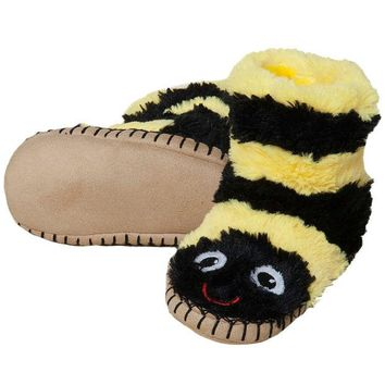 DCCK8UT Bee Youth Fuzzy Fleece Slippers