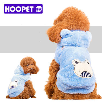 HOOPET New Small-Dog-Costumes Cat Clothes Blue Velvet winter Jacket Warm dogs pets Clothing Animal 100% Cotton