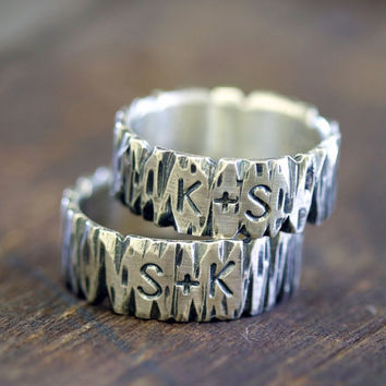 Tree Bark Sterling Silver Personalized Band uppercase by monkeysalwayslook