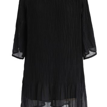 Harmonious Pleated Chiffon Dress in Black