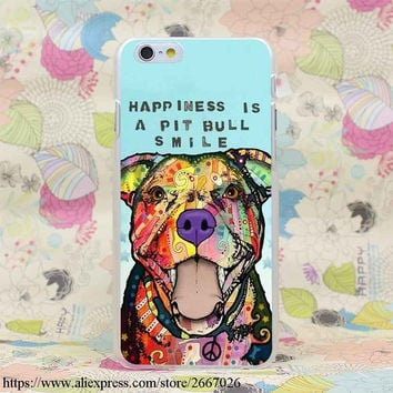 "Pitbull Colorful With Saying ""Happiness is a Pit Bull Smile"" Case for iPhone 7 7 Plus 6 6S Plus 5 5S SE 5C 4 4S"